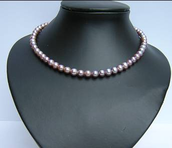 7-8mm round grade A purple pearl necklace