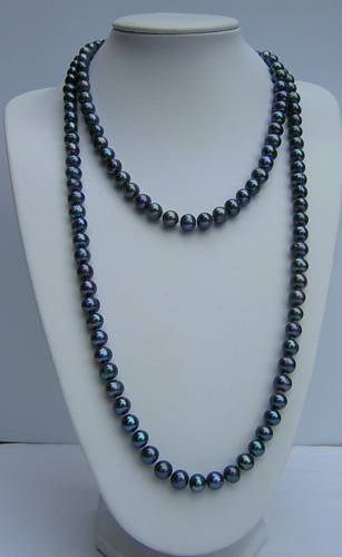 9mm grade AA round black pearl necklace