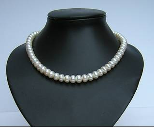 10mm grade AA dome shaped white pearl necklace