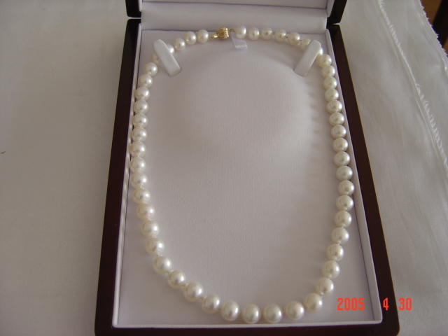 7-8mm grade AA round white pearl necklace